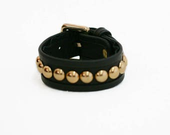 GOLDIE BACKSTAGE Black Punk Rock Leather Cuff Bracelet with Brass Studs