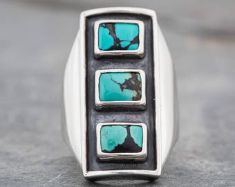 TURQUOISE TOWER Big and Bold Unisex Turquoise Ring