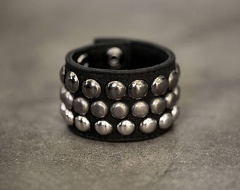 TRIPLE CUFF Black Leather Studded Bracelet Cuff
