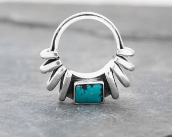 ARC DUO Turquoise and Silver Ring