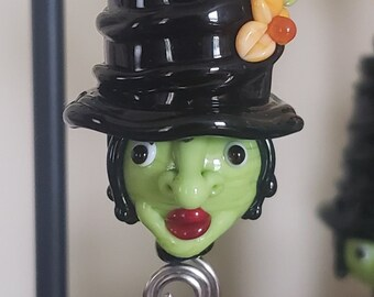 Halloween Witch Ornament ~ Lampwork Glass Art