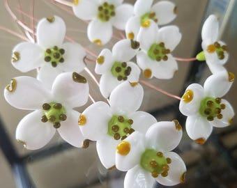 Dogwood Flower White ~ Glass Lampwork Flower Headpins ~ Copper Wire