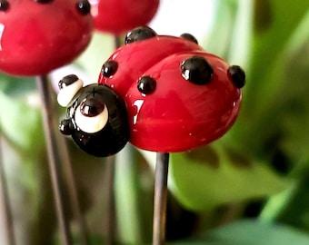 Lady Bug - Garden Art - Sun Catcher - Plant Stake  - Lampwork Glass Lady Bug