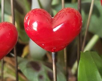 Red Puffy Heart - Garden Art - Sun Catcher - Plant Stake  - Lampwork Glass Puffy Heart