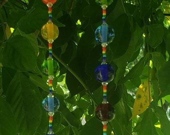 Rainbow Glass Suncatcher ~ Crystal Prism ~ Lampwork Glass