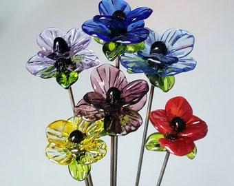 Fairy Garden Art -  Sun Catcher -  1 Plant Stake  Lampwork Glass Flower              (Not the Bouquet)