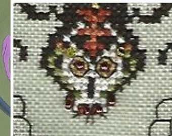Spider and the Fly SAL/stitch along/Tempting Tangles/pdf file/Halloween/scary spider/buzzy fly/ creepy bugs/cross stitch/stitch along/SAL