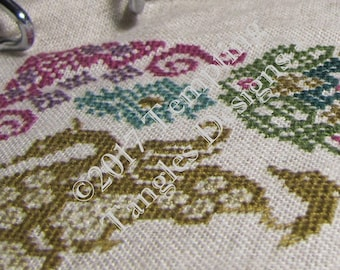 Swans and Shears Mystery SAL-Quaker motifs, hidden scissors,swan puzzles, personalize monochrome or color, cross stitch, counted thread.