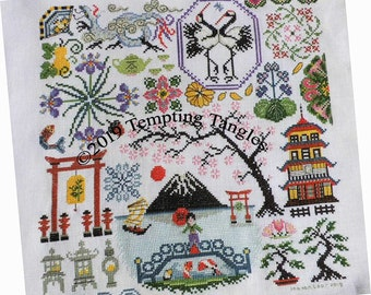 Quakers in Japan by Tempting Tangles, koi cross stitch, Torii  cross stitch, pagoda cross stitch, mount fuji cross stitch