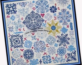 Queen's Medal Quaker by  Temptingtanglesdesigns . com , quaker cross stitch, vierlanden motifs