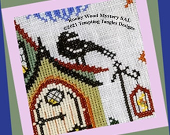 Rooky Woods Mystery SAL -Tempting Tangles Designs, Cross stitch Halloween, Tempting Tangles Stitch along, Crows rooks ravens cross stitch