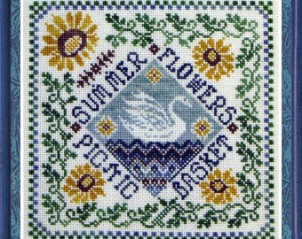 Summer Garden Party - summer on the lake/ swan lake / seasons series  / needlework / cross stitch  / counted thread