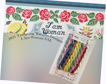 I Am Woman Mystery SAL by Tempting Tangles, wit and wisdom, RBG, cross stitch honoring women, Temptingtanglesdesigns . com, Dinky Dyes Floss
