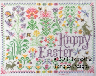 Springtime Easter Delight LIMITED TIME/stitch along/ cross stitch/quaker flowers/bunny rabbits