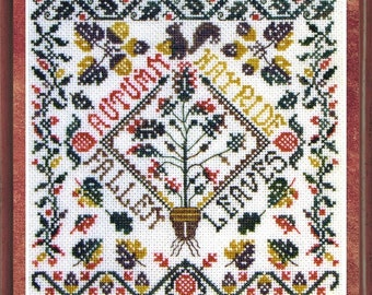 Autumn Garden Party   seasons pattern / design / needlework / embroidery pdf / cross stitch  / counted thread