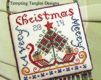 Santa's Sleigh  - Christmas ornament- pdf file  pattern / design / needlework / embroidery pdf / cross stitch  / counted thread
