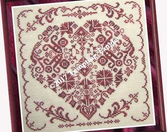 Key to My Heart - Temptingtanglesdesigns . com , quaker valentine heart/red wine/cross stitch,anniversary, wedding,counted thread