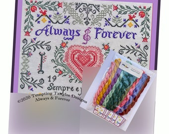 Always & Forever Valentine cross stitch,  Temptingtanglesdesigns . com , pink and red lace heart