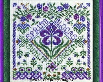 Spring Garden Party - seasons series design / needlework / embroidery pdf / cross stitch  / counted thread