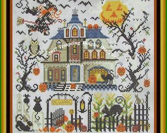 Great Cheshire PumpkinTemptingtanglesdesigns . com , cross stitch/witch ghost haunted house halloween / owl cat kitties/ scary halloween