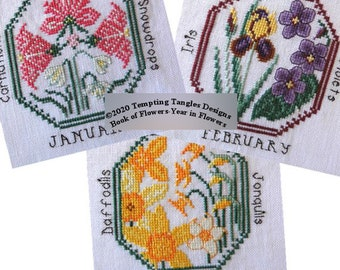 A Year in Flowers, A Book of Flowers; Temptingtanglesdesigns . com ; flower xstitch; botanical cross stitch; calendar of flowers stitch;