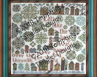Long Way Home - a Quaker and Vierlanden  medallions/ little houses/ lighthouse/ trees /Cross-stitch/ Counted-thread