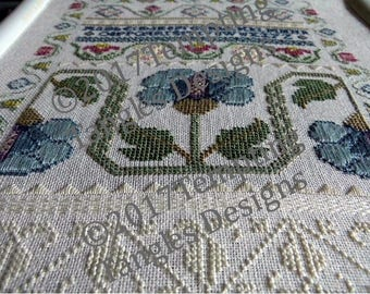 Blue Poppy Learning Sampler - Eliza Teakle series/Stitch along/ antique style/specialty stitch instructions/white work/ floral border