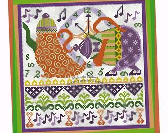 Midnight Minuet- tempting tangles cross stitch designs, Halloween cross stitch, dancing tea and coffee pot, wedding gift, housewarming gift