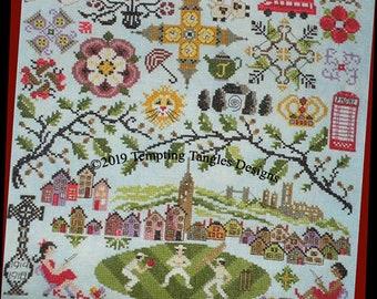 Quakers in England by Temptingtanglesdesigns . com , Cross Stitch, cotswold, stonehenge cross stitch, tudor rose stitch, Big Ben