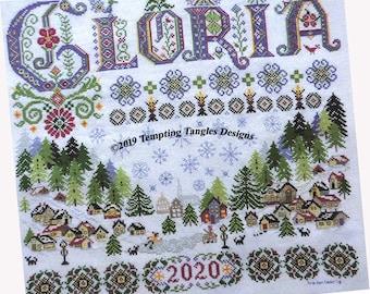 Gloria- Winter-Christmas Cross Stitch- Temptingtanglesdesigns . com