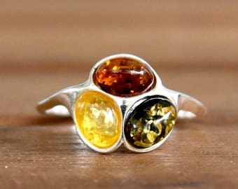 Multi Color Amber Ring - Size: 8