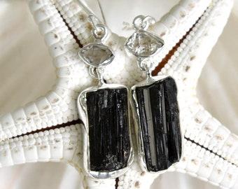 Black Tourmaline and Herkimer Diamond Earrings