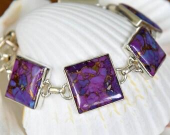 Purple Copper Turquoise Bracelet