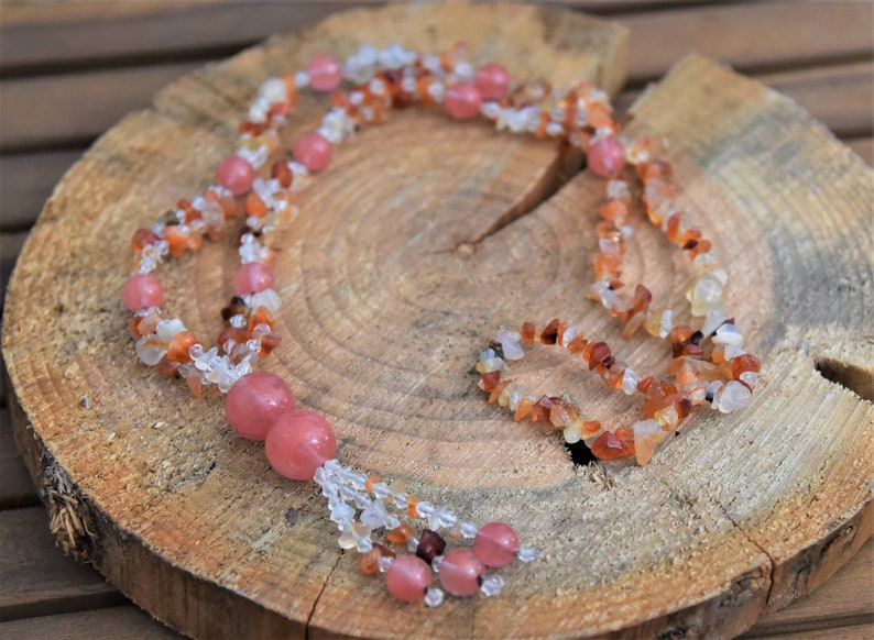 Carnelian /& Cherry Quartz Necklace
