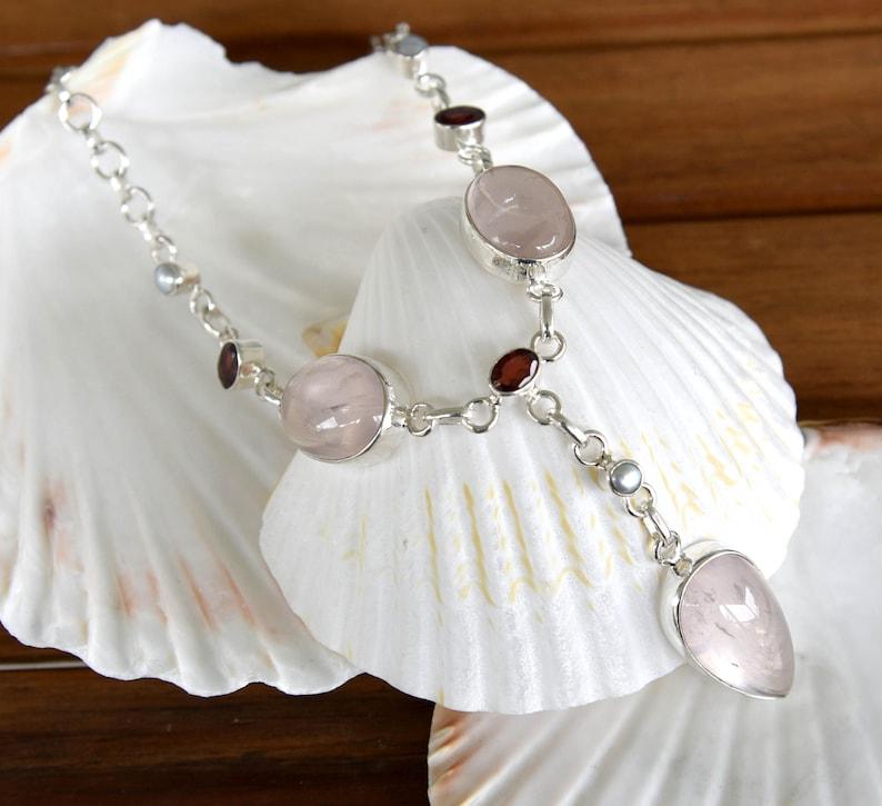 Rose Quartz and Pearl Necklace Garnet