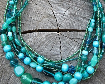 Beaded Bib Necklace ~ Beaded Statement Necklace ~ Chunky Necklace Statement ~ Turquoise Necklace ~ Statement Necklace ~ Big Bold Necklace