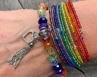 memory wire spike bracelet Statement wrap around seed beaded