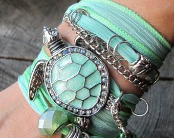 Beach Bracelet ~ Beach Wrap Bracelet ~ Sea Turtle Jewelry ~ Turtle Bracelet ~ Beach Bracelet Boho ~ Silk Wrap Bracelet ~ Boho Wrap Bracelet