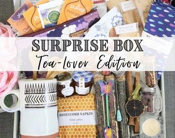 Tea Mystery Box  • Tea Gift Box, Surprise gift for tea lover, Tea Themed Mystery Box, Tea time care package accessories set Tea Surprise Box