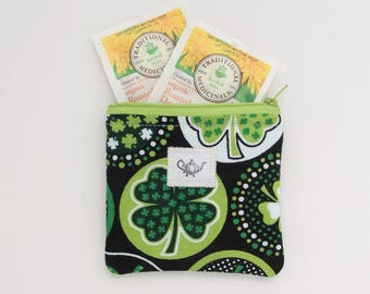 Tea wallet, Travel Tea bag holder, zippered pouch, Shamrocks Tea Accessories, St. Patrick's day Gift women friend mom college sister