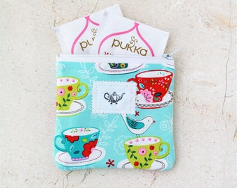 Tea accessories, Tea Bag, Tea Wallet, Tea Gifts, Tea Time zipper pouch Travel tea holder fabric pouch Gift for her tea lover large mini