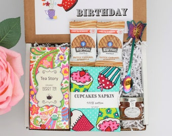 Birthday Tea Gift • Tea Gift Box for Women, Cupcake Gift Set, Thank you gift, Friend Gift set, Eco friendly gifts, appreciation gift