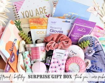 Best Friend Birthday Gift Box • Self Care Gift, Gifts for Women, Spa Birthday Box, Thinking of you care package, Thank you gift box