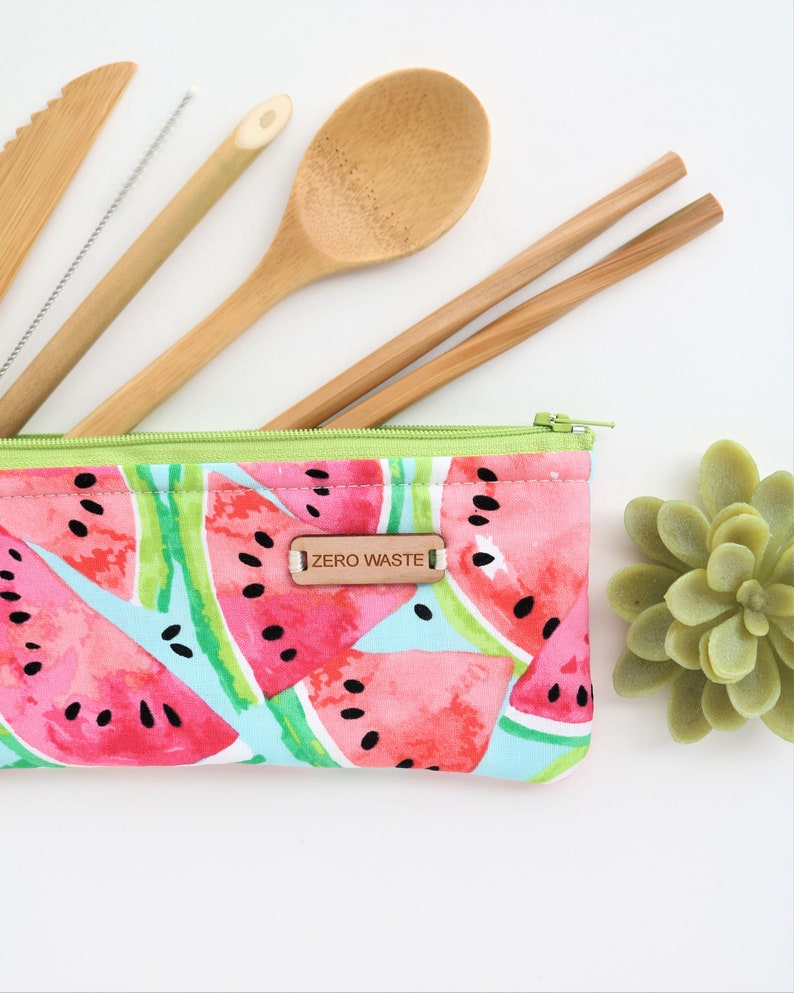 Travel Utensils kit Reusable Bamboo Plastic free Eco Friendly Gifts Watermelon Birthday Gift For Her Zero Waste Cutlery Camping gear