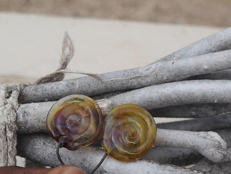 L/'atelier de jacquelina     2 longues gouttes  en verre fil\u00e9 \u00e0 la flamme   handmade  2long drops  glass torch