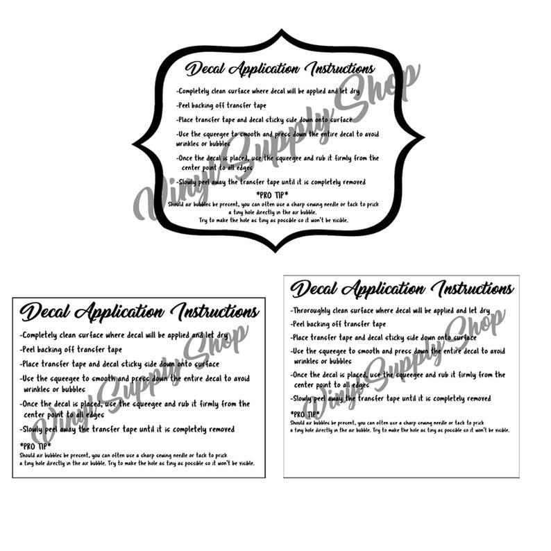 graphic relating to Decal Application Instructions Printable identified as Decal Program Education Printables Package deal, How toward Put into action Decals, Buyer Vinyl Decal Recommendations, Playing cards towards Print for Buyer Orders