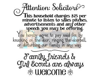 No Soliciting Sign Funny Door Sign   Svg Dxf Png Pdf Zip File Commercial Use SVG Digital File   Don't Knock   No Solicitors Door Sign