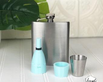 HOGG 7 Oz Flask | 8oz Diamond Flask | Shot Glass Insert for Cup Turner Adapter Glitter Epoxy Tumbler #34