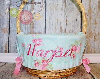Easter Basket Liner- Shabby Chic Floral- Comes Personalized