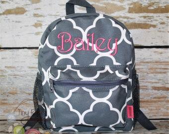 1d35e3491bca Toddler Backpack - Gray Quatrefoil Booksack - Personalized School Bag